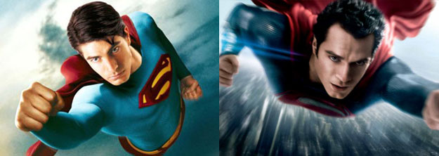 "Superhero burden: Superman Returns' Brandon Routh [""My girl left me and I got a kid with asthma than can only throw pianos!""] vs. Man of Steel's Henry Cavill [""Could've saved my dad and been a hero since birth, but he said I shouldn't!""] (SOURCE: Warner Bros)"
