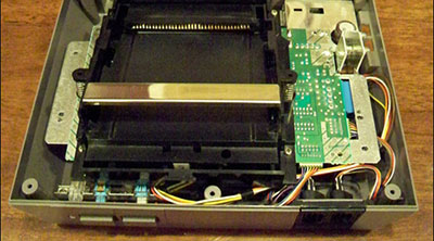A view inside an opened Nintendo Entertainment System console