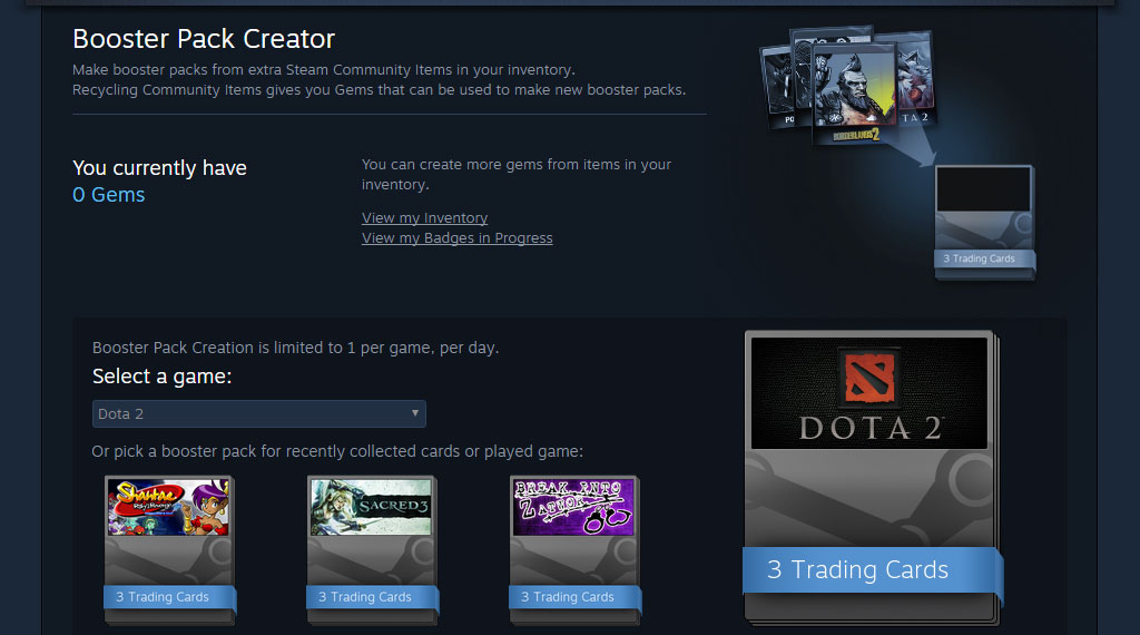A look at the Steam Booster Pack Creator window (SOURCE: Valve Corporation)