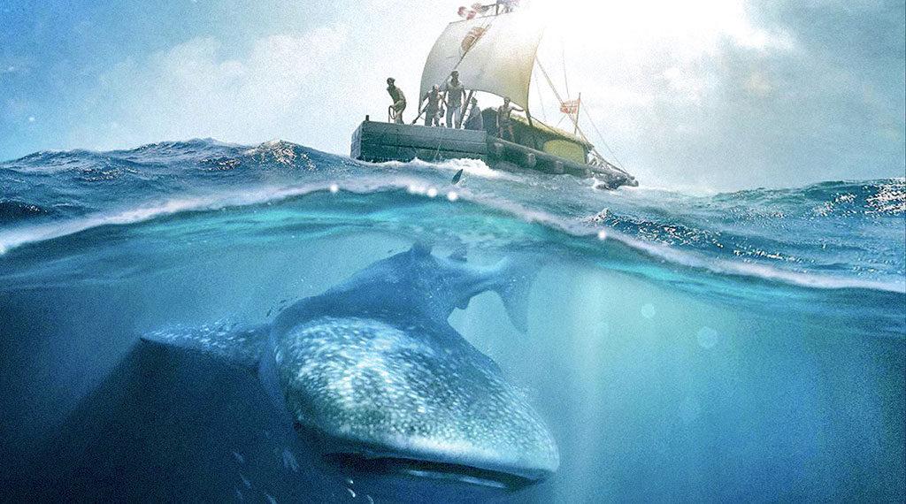 The crew of the Kon-Tiki face a whale shark in 'Kon-Tiki'
