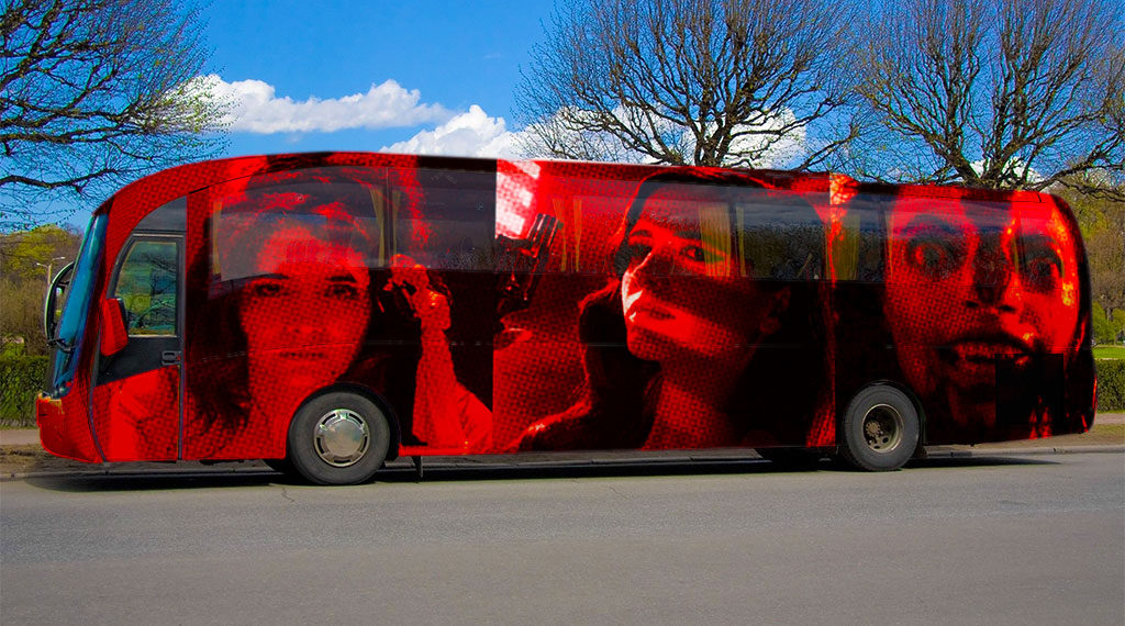 A bus decorated with the faces of Erica Rivas ('Relatos Salvajes'), Eva Green (´Sin City: A Dame to Kill For') and Hannah Fierman ('V/H/S')