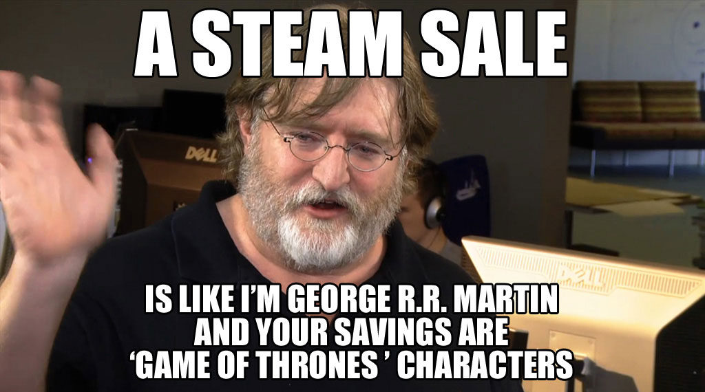 Gabe Newell, Valve president, frequently featured in Steam Sale related memes