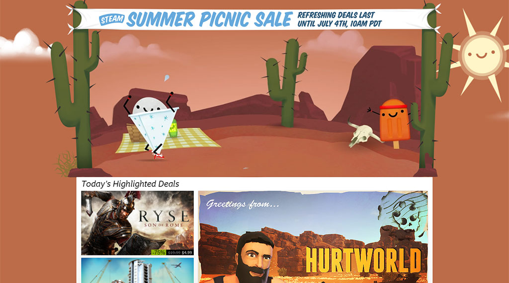 The Steam Store during 2016's Steam Summer Picnic Sale (SOURCE: Valve Corporation)