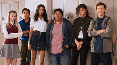 Angourie Rice, Tony Revolori, Laura Harrier, Jacob Batalon, Zendaya and Tom Holland in 'Spider-Man: Homecoming' (SOURCE: Sony Pictures)