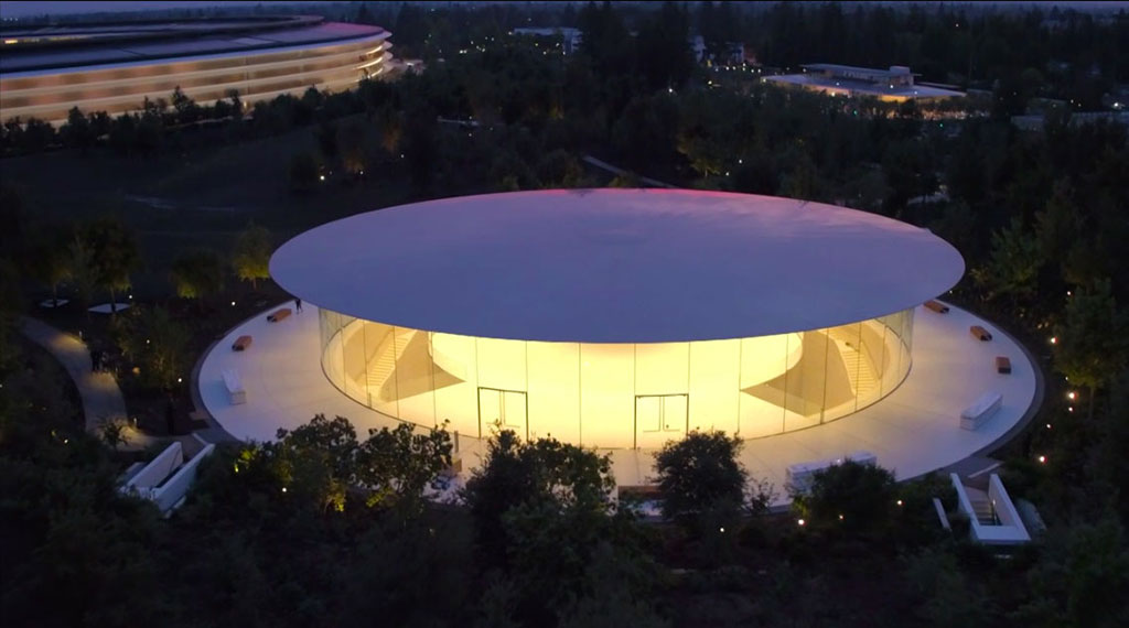 The Steve Jobs Theater at Apple Park in Cupertino, California, debuted for the Apple Special Event on September 12th, 2017 (SOURCE: Apple)
