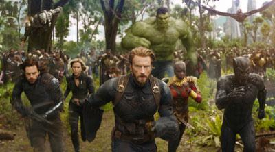 Bucky Barnes (Sebastian Stan), Natasha Romanoff (Scarlett Johansson), Steve Rogers (Chris Evans), Hulk (Mark Ruffalo) Okoye (Danai Gurira) and T'Challa (Chadwick Boseman) in 'Avengers: Infinity War' (SOURCE: Marvel)