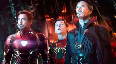 Tony Stark (Robert Downey Jr.), Peter Parker (Tom Holland) and Stephen Strange (Benedict Cumberbatch) in 'Avengers: Infinity War' (SOURCE: Marvel)