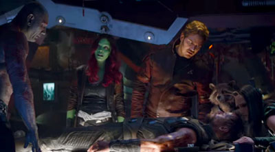 Drax (Dave Bautista), Gamora (Zoë Saldaña), Peter Quill (Chris Pratt), Rocket (Bradley Cooper), Mantis (Pom Klementieff) and Thor (Chris Hemsworth) in 'Avengers: Infinity War' (SOURCE: Marvel)