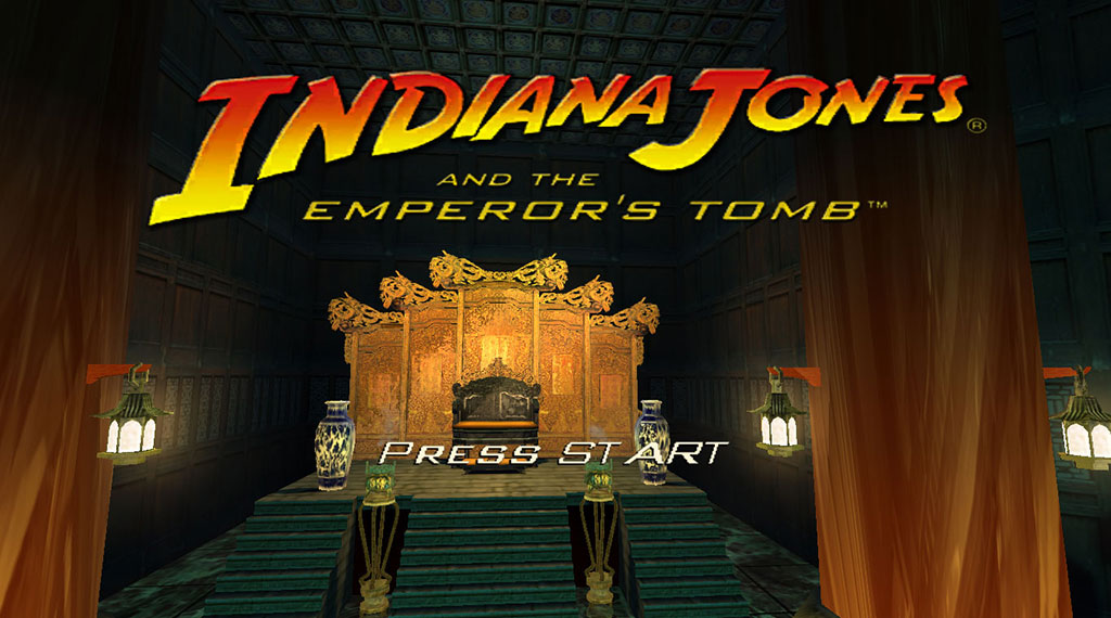 "Indiana Jones and the Emperor's Tomb PC start screen, replacing ""Press Enter"" with ""Press Start"" (SOURCE: LucasArts)"