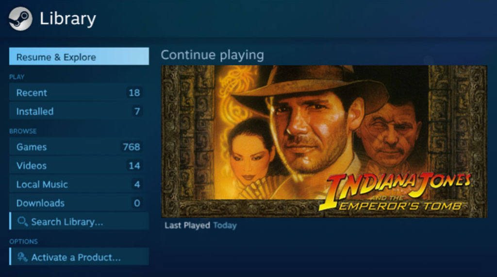 Indiana Jones and the Emperor's Tomb on the Steam Library (SOURCE: LucasArts)