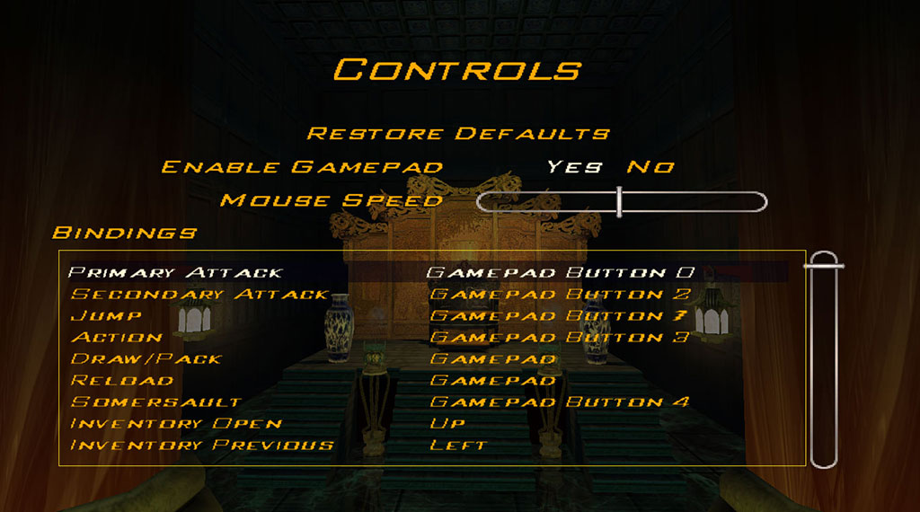 Indiana Jones and the Emperor's Tomb Controls menu (SOURCE: LucasArts)