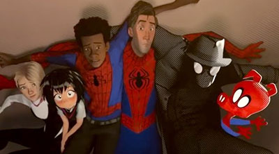 Gwen Stacy, Penny Parker, Miles Morales, Peter Parker, Spider-Man Noir and Spider-Ham in 'Spider-Man: Into the Spider-Verse' (SOURCE: Sony Pictures)
