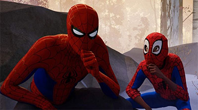 Peter Parker and Miles Morales in 'Spider-Man: Into the Spider-Verse' (SOURCE: Sony Pictures)