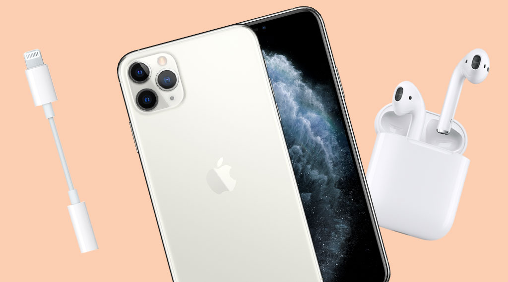 iPhone 11 Pro, AirPods and Lightning to Headphone Adapter (SOURCE: Apple)